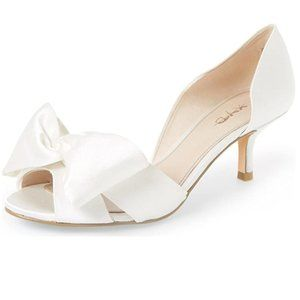 XYD Low Heel D'Orsay Pump Peep Toe Slip On Bowknot